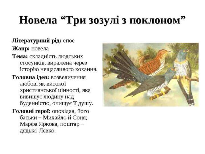 """Аналіз новели Григора Тютюнника """"Три зозулі з поклоном"""""""
