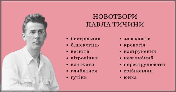 Новотвори Павла Тичини